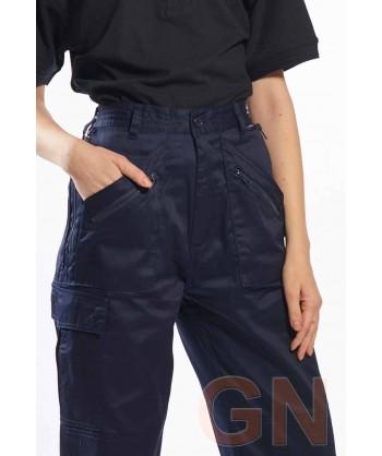 Pantalón laboral de mujer multibolsillos con rodilleras color negro