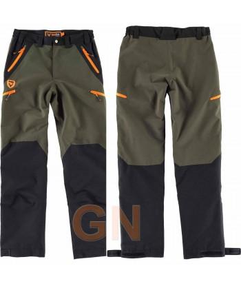 Pantalón sport impermeable y combinado verde caza/negro