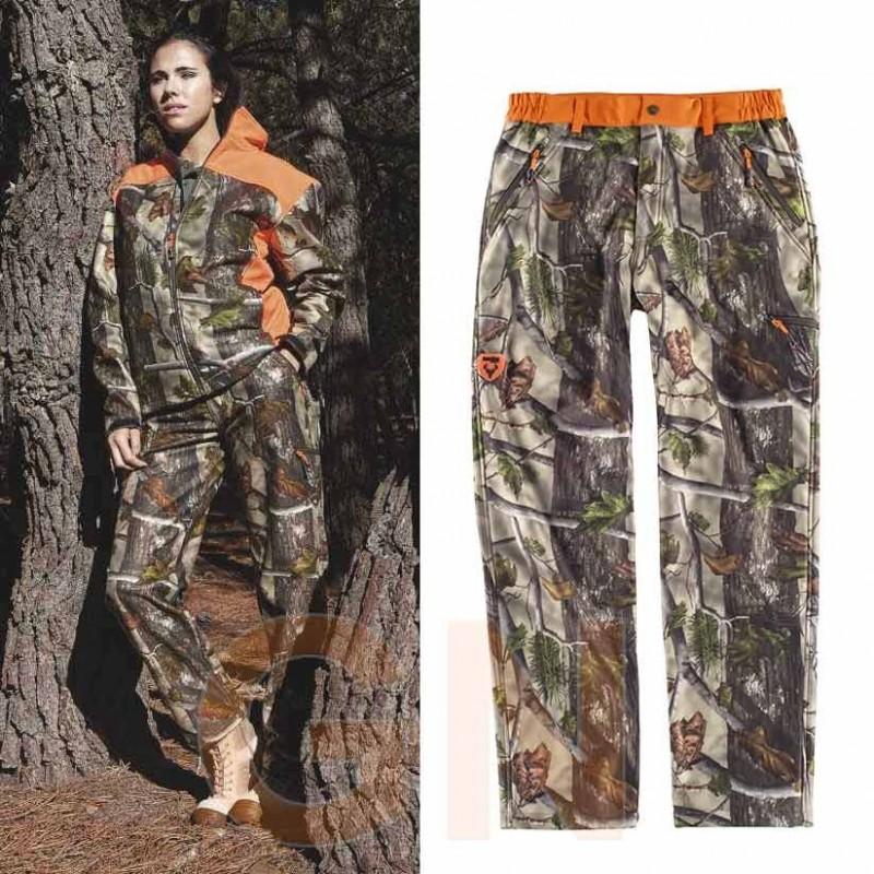 Pantalón softshell de camuflaje transpirable y elástico