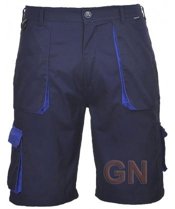 Pantalón bermuda multibolsillos marino/azulina