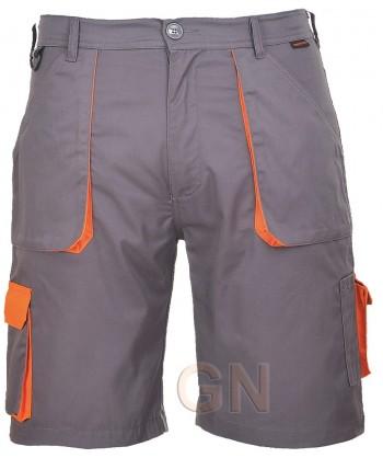 Pantalón bermuda multibolsillos gris/naranja