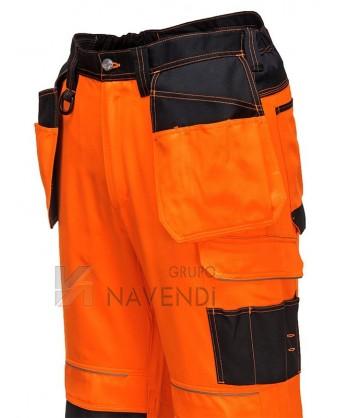 Pantalón alta visibilidad bicolor triples costuras y refuerzos en rodillas naranja A.V./negro