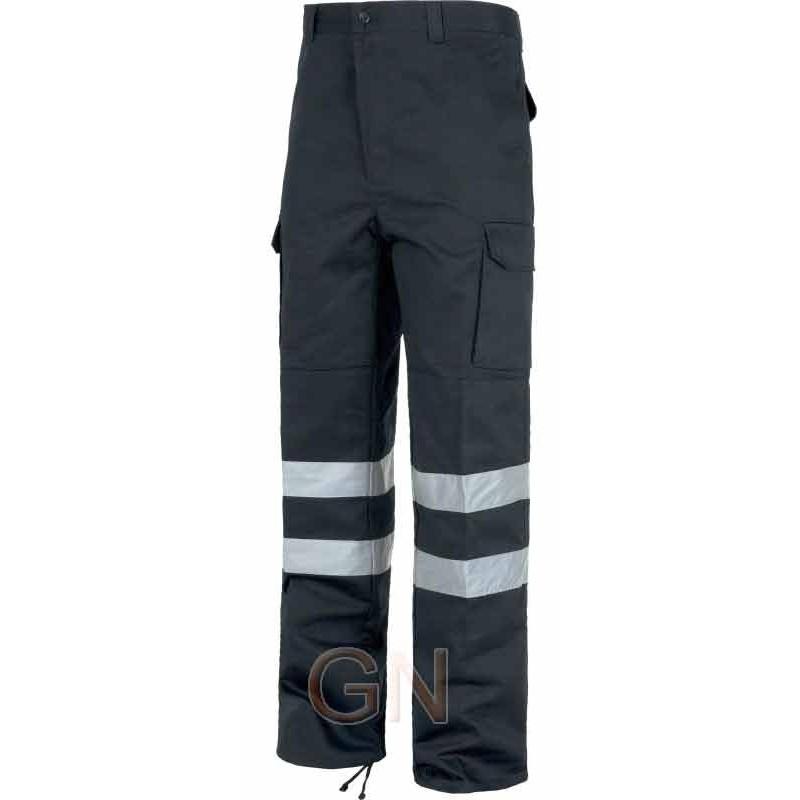 Pantalones multibolsillos color marino oscuro con cintas reflectantes y refuerzos