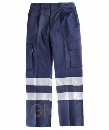 Pantalones multibolsillos con cintas reflectantes marino