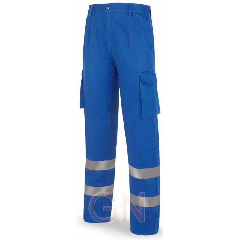 Pantalones multibolsillos económicos con cintas color azulina