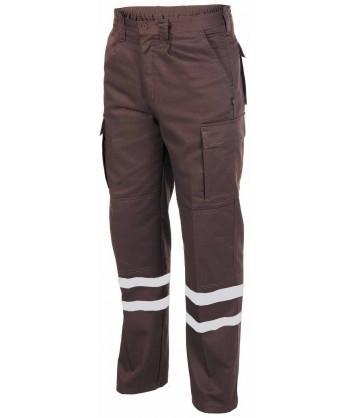 Pantalones tacticos multibolsillos con cintas reflectantes color marrón