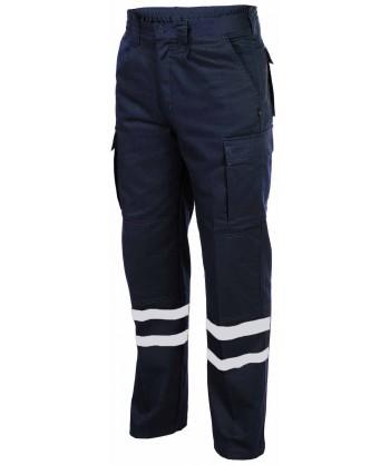 Pantalones tacticos multibolsillos con cintas reflectantes color negro