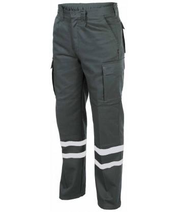 Pantalones tacticos multibolsillos con cintas reflectantes color gris