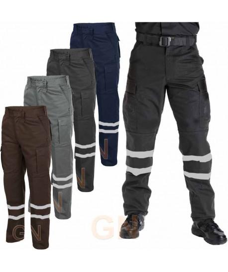 Pantalones tacticos multibolsillos con cintas reflectantes