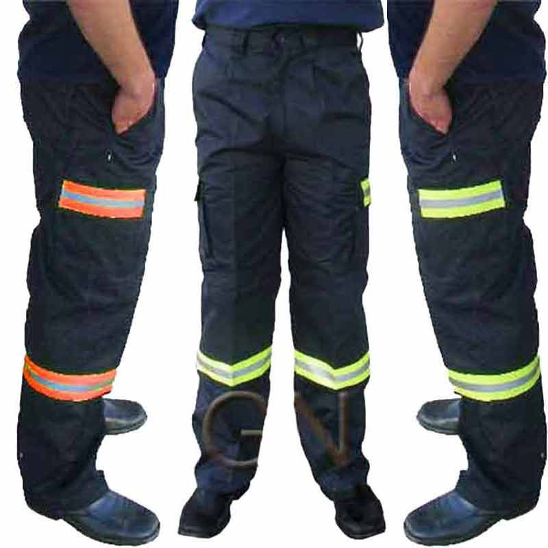 Pantalón táctico multibolsillos con cintas de alta visibilidad