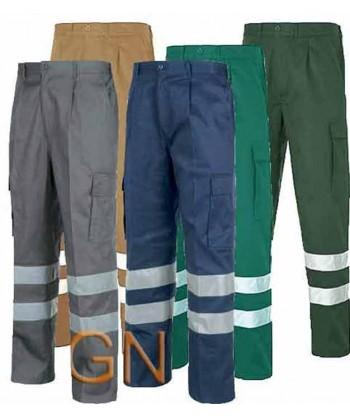 Pantalones multibolsillos con refuerzos y cintas reflectantes