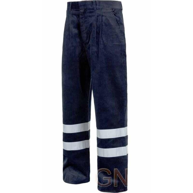 Pantalón de algodón de pana azul marino con cintas reflectantes