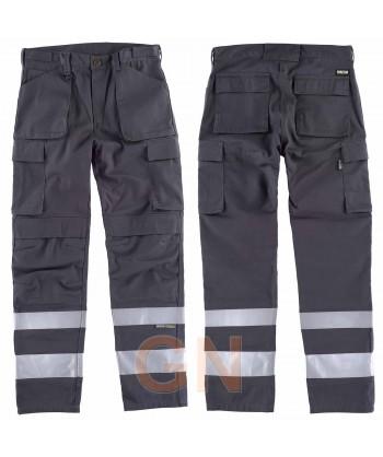 Pantalones multibolsillos con refuerzos y cintas reflectantes grises