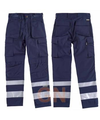 Pantalones multibolsillos con refuerzos y cintas reflectantes marino