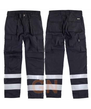 Pantalones multibolsillos con refuerzos y cintas reflectantes negros