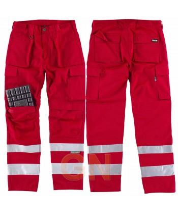 Pantalones multibolsillos con refuerzos y cintas reflectantes rojos