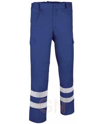 Pantalones económico multibolsillos y cintas reflectantes azulina