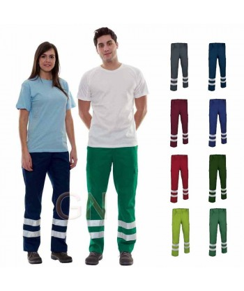 Pantalon económico multibolsillos con cintas reflectantes