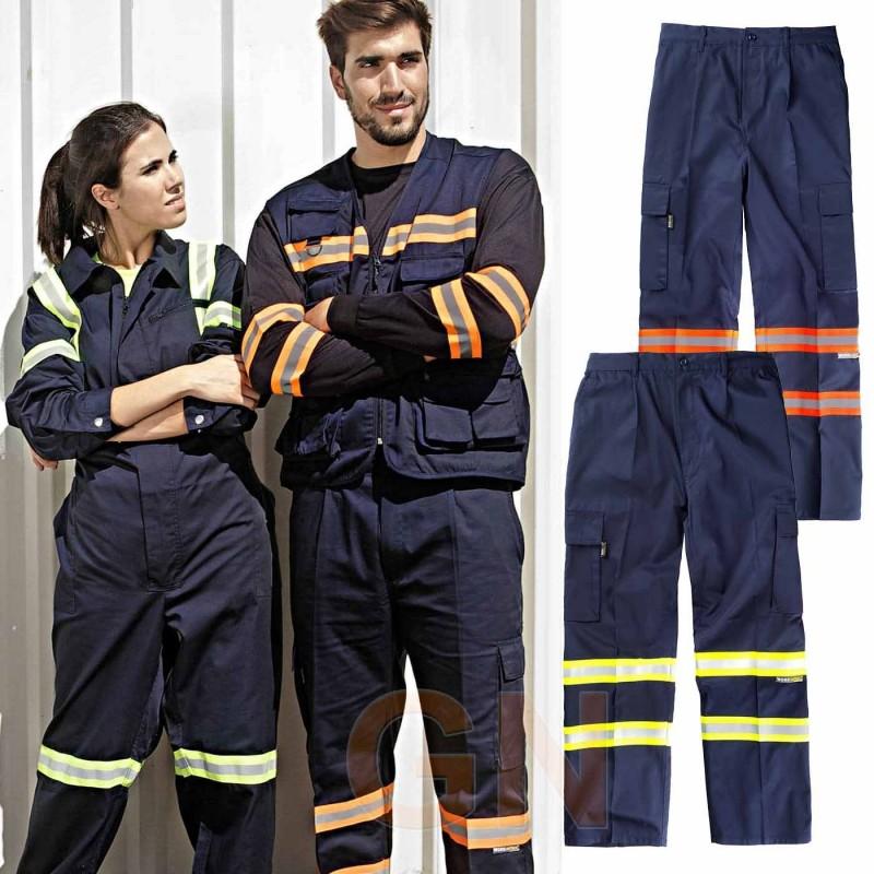 Pantalón multibolsillos con cintas reflectantes bicolor