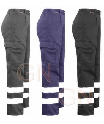 Pantalones de mujer multibolsillos con cintas reflectantes