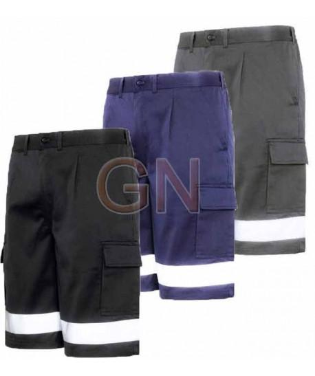 Pantalon bermuda multibolsillos con cintas reflectantes