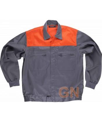Cazadora bicolor color gris/naranja