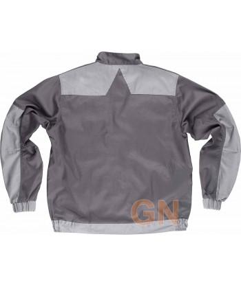 Cazadora combinada multibolsillos triples costuras gris/gris claro