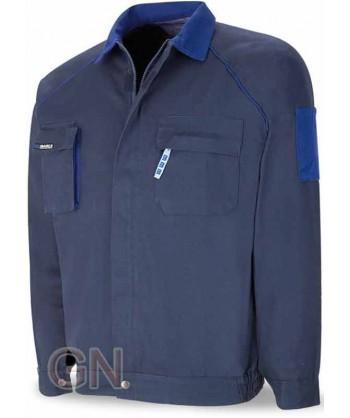 Cazadora gruesa de algodón con triples costuras azulina/gris marino/azulina