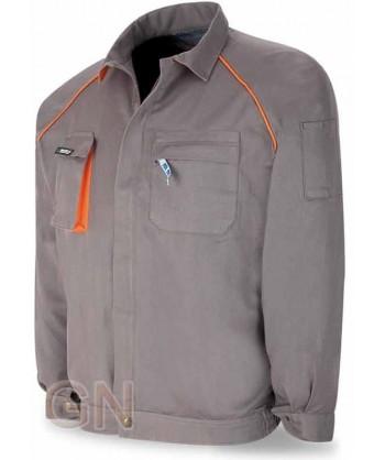 Cazadora gruesa de algodón con triples costuras gris/naranja