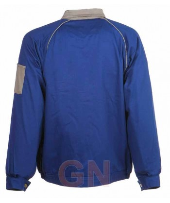 Cazadora gruesa de algodón con triples costuras azulina/gris