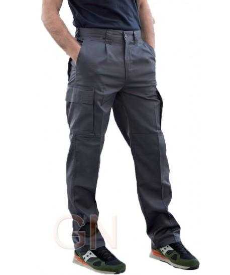 Pantalón multibolsillos con refuerzos gris