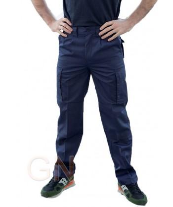 Pantalón multibolsillos con refuerzos marino