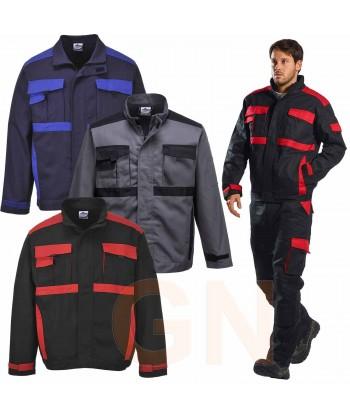 Cazadora bicolor de algodón color negro y rojo