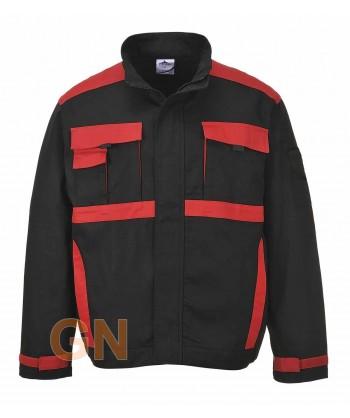 Cazadora combinada de algodón negro/rojo