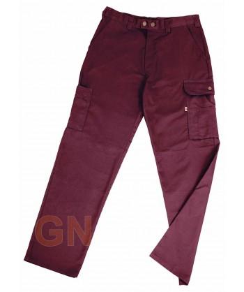 Pantalones multibolsillos con refuerzos burdeos