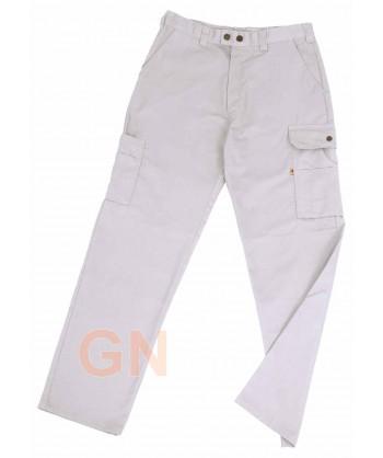 Pantalones multibolsillos con refuerzos blanco