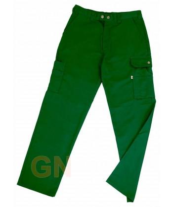 Pantalones multibolsillos con refuerzos verdes botella