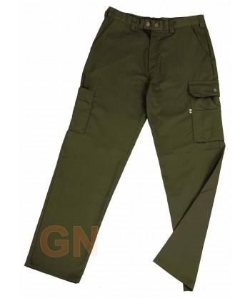 Pantalones multibolsillos con refuerzos verde oliva