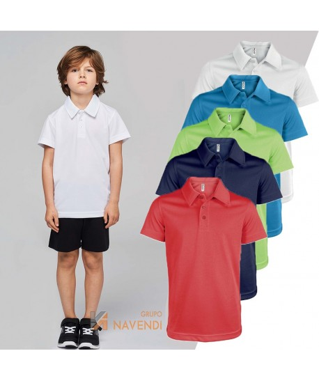 Polo transpirable de manga corta para niños