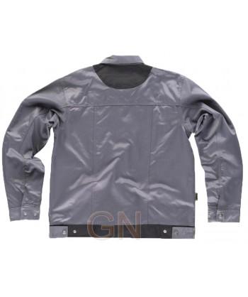 Cazadora bicolor hidrofugada con triple costuras color gris/negro