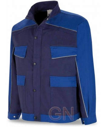 Cazadora bicolor de moderno diseño marino/azulina