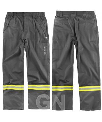 Pantalón modacrílico ignífugo y antiestático color gris oscuro con cintas bicolor