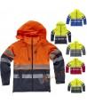 Softshell alta visibilidad con capucha color naranja flúor y marino