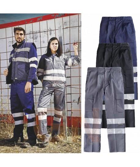 Pantalones multibolsillos con cintas reflectantes