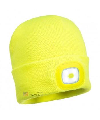Gorro de punto amarillo A.V. con luz led incorporada