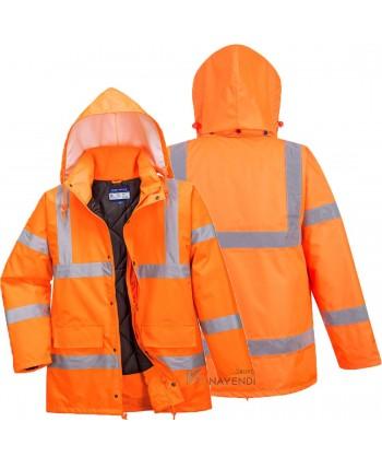 Parka acolchada e impermeable monocolor naranja alta visibilidad altamente transpirable