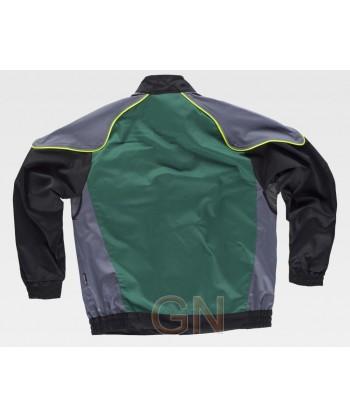 Cazadora tricolor con vivos de alta visibilidad verde/gris oscuro