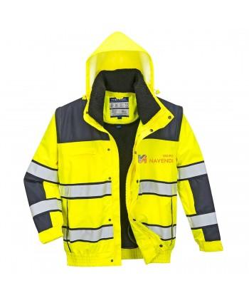 Cazadora piloto bicolor marino/amarillo alta visibilidad con forro y mangas desmontables