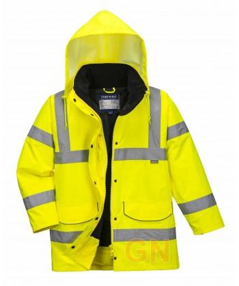 Parka acolchada e impermeable de alta visibilidad para mujer color amarillo flúor