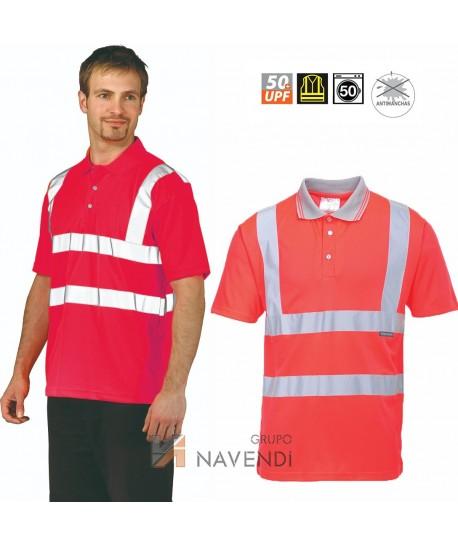Polo de manga corta bicolor rojo alta visibilidad/gris.